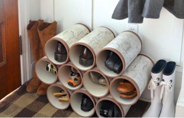 Des Tuyaux En PVC Pour Ranger Les Chaussures