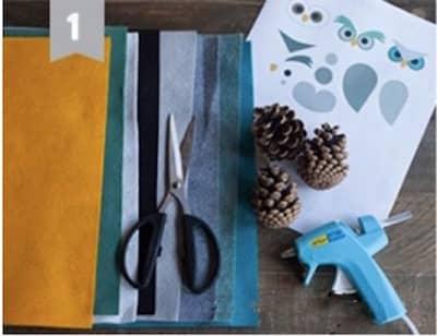 de la feutrine de couleurs différents, des pommes de pin, de la colle pour faire des hiboux décoratifs