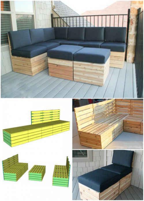 Salon modulable pour jardin en palette