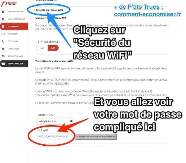 comment retrouver son code free wifi