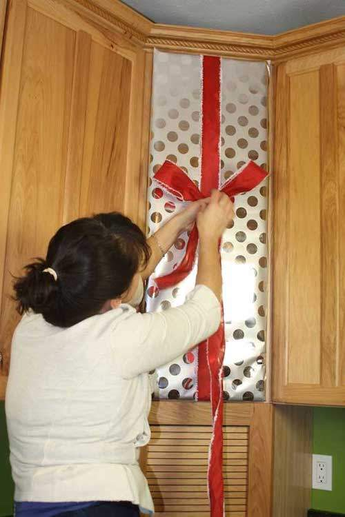 Wrapping Kitchen Cabinets For Christmas