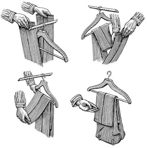 comment mettre pantalon sur un cintre