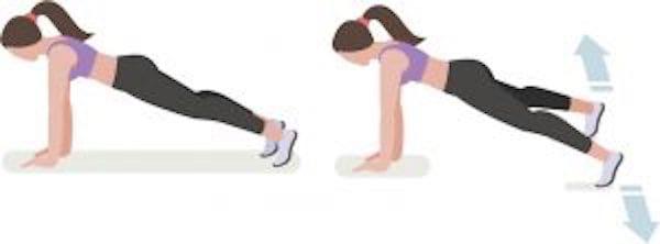 Entraînement abdo en 6 min : pour avoir le ventre plat et les abdos musclés, faites l'exercice de la planche avec petits sauts.
