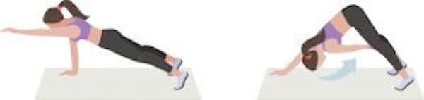 Entraînement abdo en 6 min : pour avoir le ventre plat et les abdos musclés, faites l'exercice de la planche avec basculement desbras.