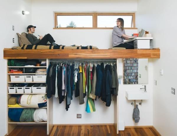 mezzanine appartement avec chambre bureau