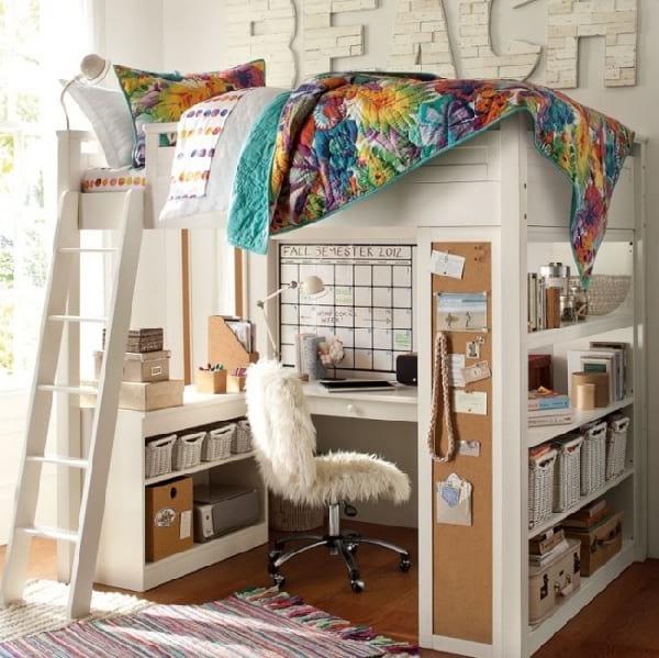 mezzanine pour enfant avec lit au dessus du bureau