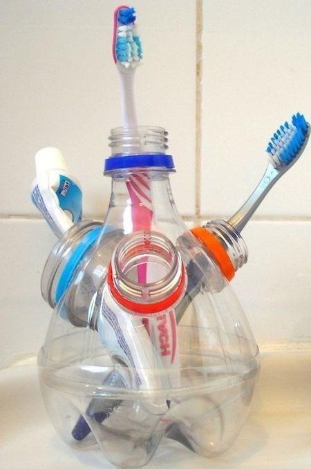 porte brosse à dent bouteille plastique recyclée