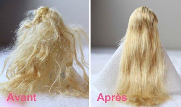 les cheveux d'une poupée décoiffés puis bien coiffés