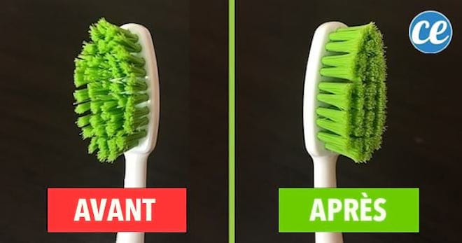 Pour redonner une seconde vie à une brosse à dents, plongez-la dans l'eau chaude