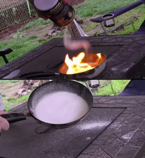 le sel éteint le feu dans la poêle