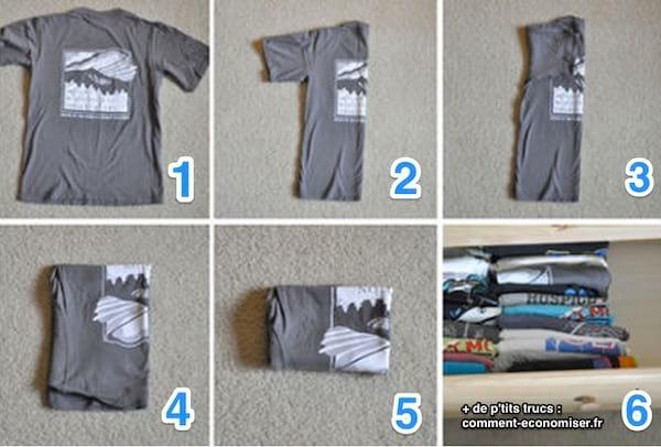 astuce comment plier un t-shirt pour gagner de la place