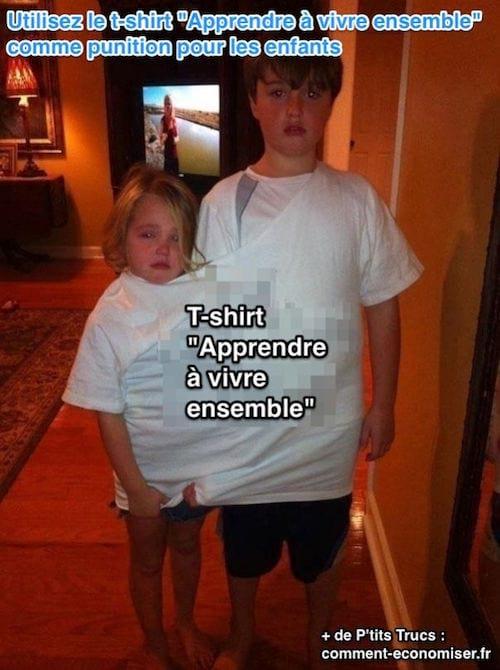 un t-shirt géant pour mettre fin aux disputes entre enfants