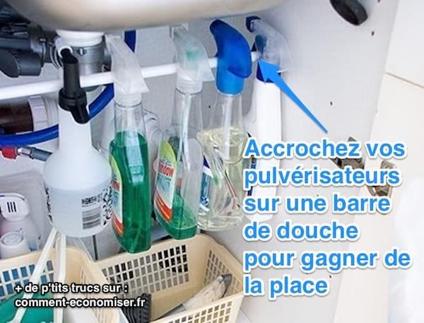 rangement flacon pulverisateurs sous l'évier