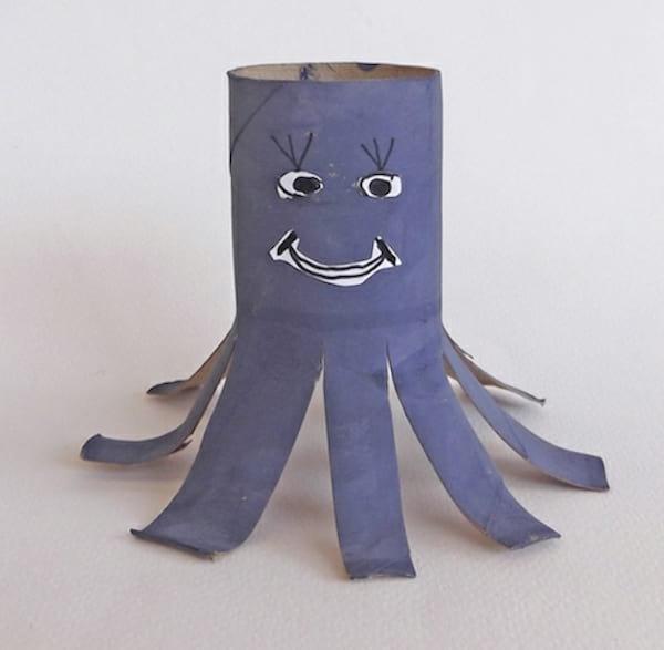 Rouleau de papier toilette recyclé en pieuvre pour enfants en violet