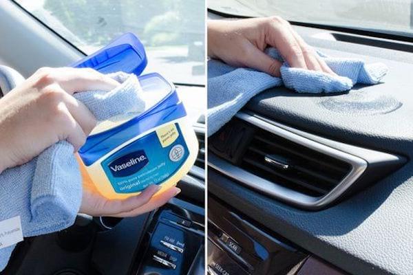 utilisez de la vaseline pour entretenir l'intérieur de votre voiture