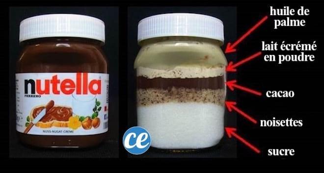 Voici les vrais ingrédients du Nutella : huile de palme, cacao, noisettes, lait écrémé en poudre et sucre