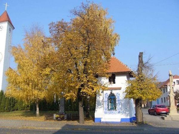 vue du petit clocher décoré à Londa en Tchéquie