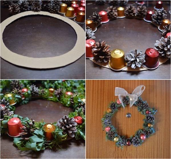 couronne de Noel avec capsule de café vide recyclées