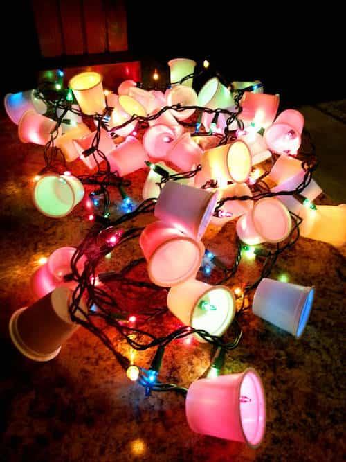 guirlande lumineuse avec capsule de café recylée