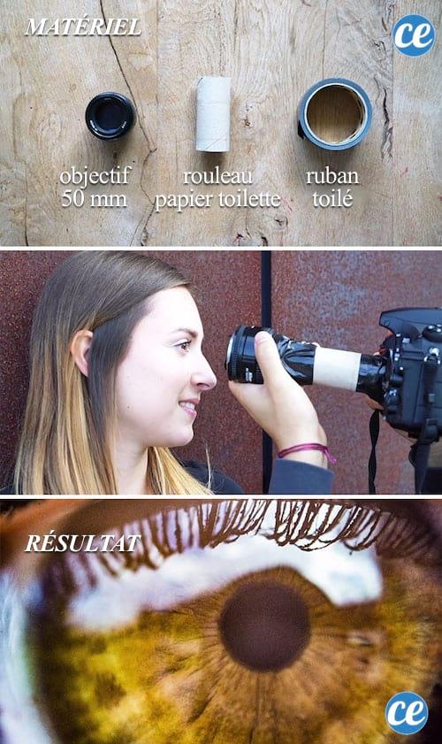 Faites un zoom macro avec du ruban adhésif et un rouleau de papier toilette.
