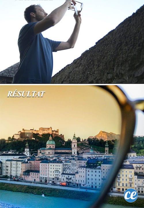 Utilisez vos lunettes de soleil pour faire un filtre photo.