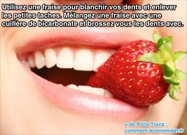 dentifrice fraise dents blanches et enlever les taches sur les dents pour redonner de l'éclat