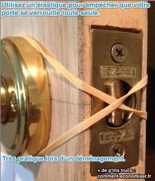 attacher un elastique pour que la porte ne se verouille pas