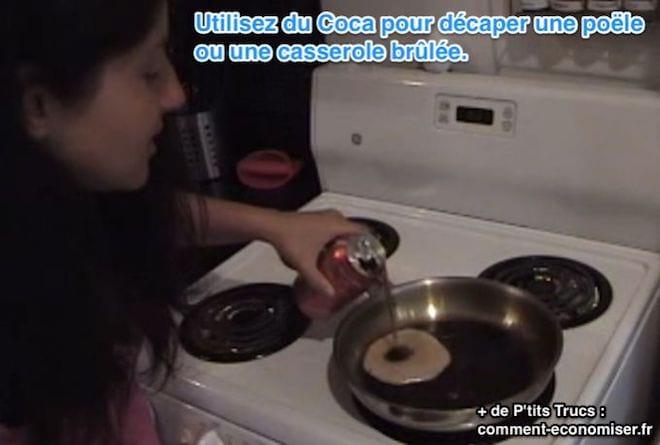 nettoyer et récuperer une casserole ou une poele brulée avec du Coca cola
