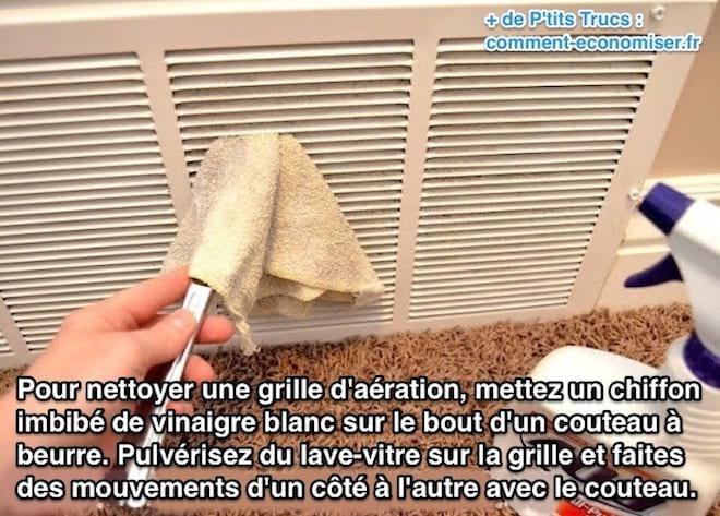 Utilisez un couteau pour nettoyer une grille d'aération