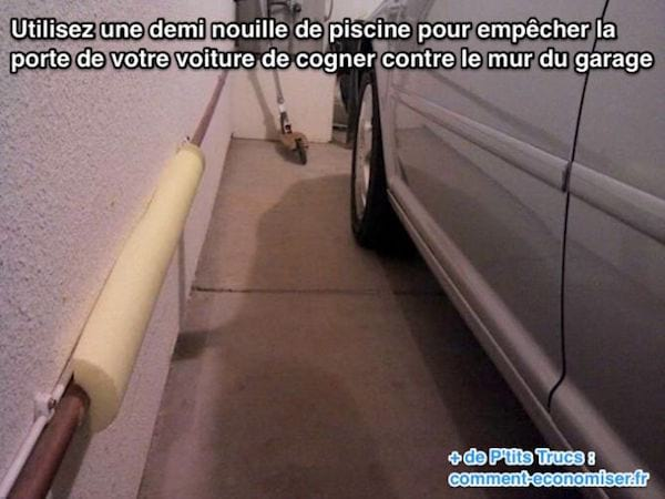 Utilisez une mousse de piscine pour protéger la porte de votre voiture dans le garage