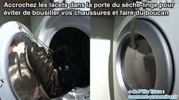 pour que les chaussures ne fassent pas de bruit dans le sèche-linge on coince les lacets dans le hublot