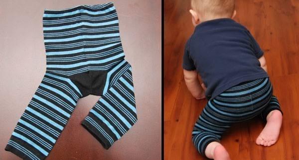 deux chaussettes pour créer un legging pour bébé