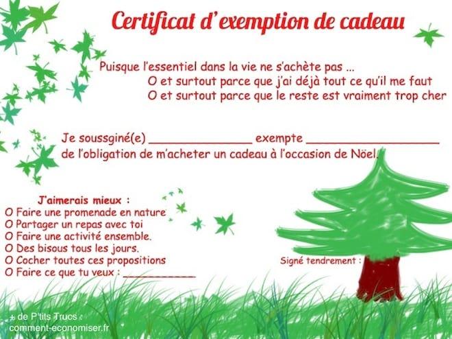 Offrir un certificat d'exemption de cadeau à noel