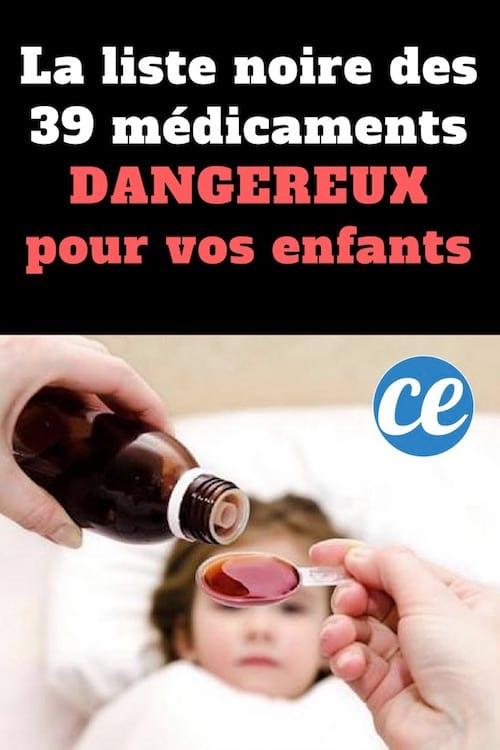 Liste noire des médicaments dangereux pour la santé des enfants
