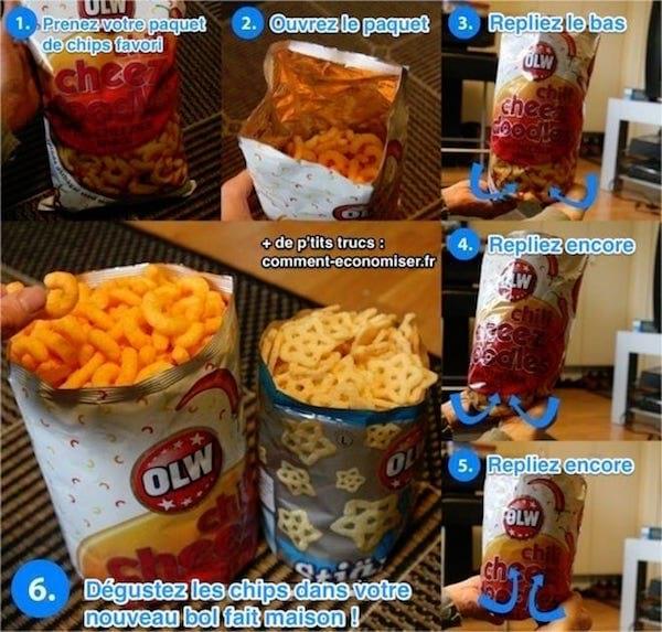 Transformez votre paquet de chips en bol