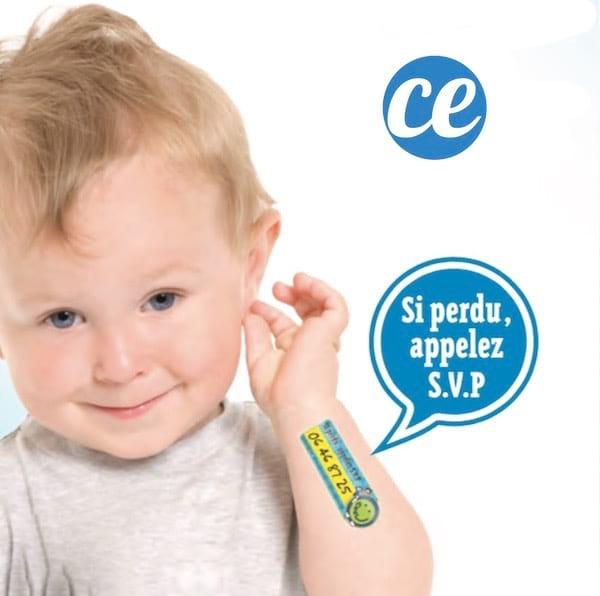 un tatouage éphémère pour enfant pour éviter qu'ils se perdent