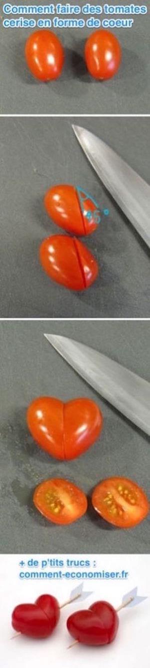 Comment faire des tomates cerise en forme de coeur