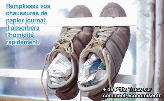 chaussures humides : comment les faire sécher rapidement