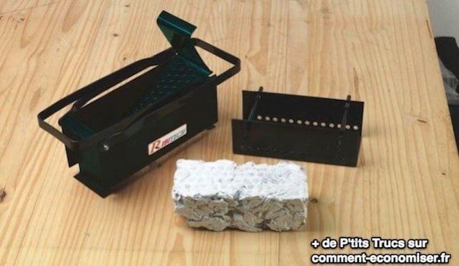 compacteur de buches pour se chauffer gratuitement avec du papier journal