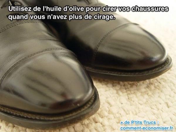Utilisez de l'huile d'olive pour cirer vos chaussures quand vous n'avez plus de cirage.