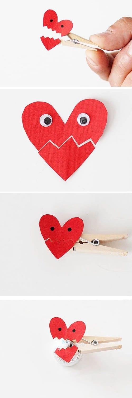 Un petit coeur sur une épingle à linge