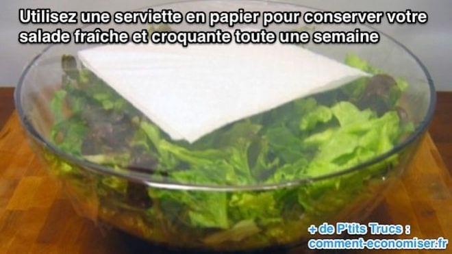 conservation salade : conserver salade fraiche croquante astuce