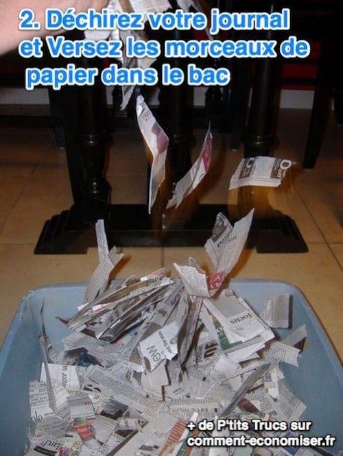 Déchirez votre journal et Versez les morceaux de  papier dans le bac
