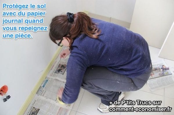Protéger le sol avec du papier journal quand on fait de la peinture
