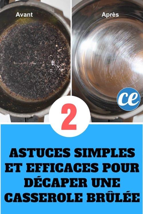 une casserole cramée avant puis propre après nettoyage avec du bicarbonate de soude ou une pastille de lave-vaisselle