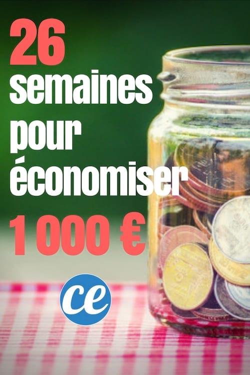 Économisez 1000 euros facilement en 26 semaines d'économies