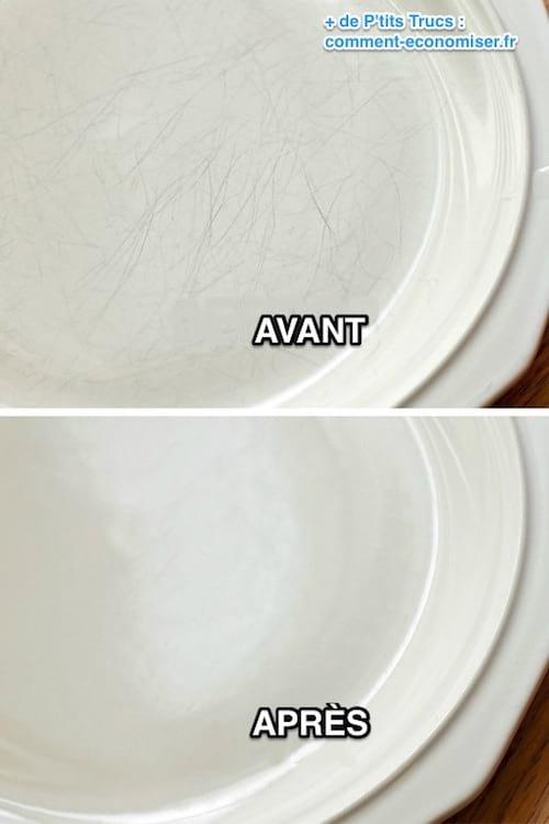 comment enlever les rayures sur les assiettes en porcelaine