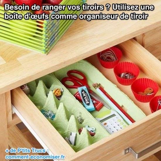 Utilisez une  boîte d'œufs comme organiseur de tiroir