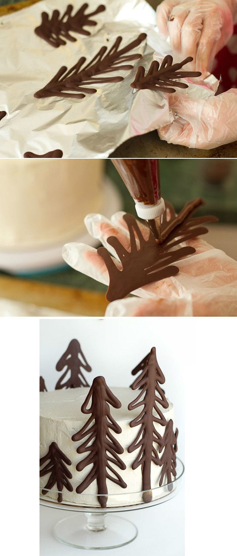 Faites des arbres de noel en chocolat chaud