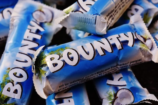 des barres de chocolat mini bounty